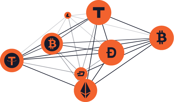 Currencies connected in a network